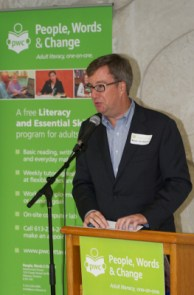 Mayor Jim Watson speaking at a PWC event